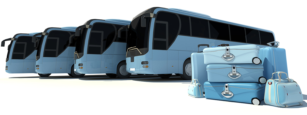 3D rendering of a line of coach buses and a pile of luggage in pale blue shades